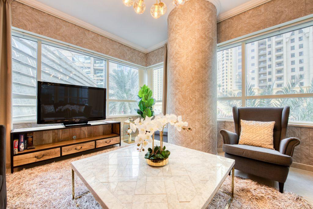 A gorgeous living area located in Al Sahab, Dubai Marina