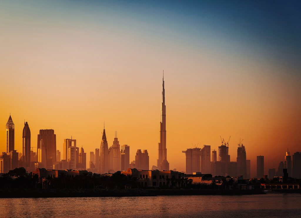 Sunset skyline of Downtown Dubai